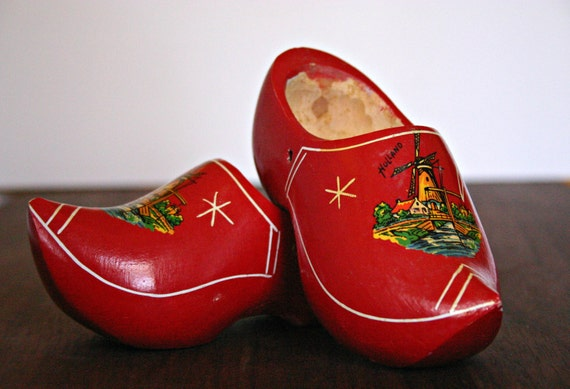 Vintage Red Wooden Dutch Shoes Clogs Small By Peonyexpressions