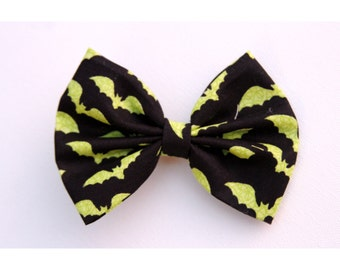SALE - Bats Hair Bow - Black with Neon Green Bats Hair Bow with Clip