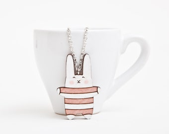 Wood Bunny Necklace Striped Rabbit Pendant Pink Charm Kids Necklace Cute Jewelry Many color variations Birthday Gift