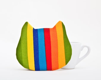 Rainbow coaster for cups, Cat drink coasters, Handmade kitchen decor