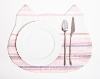 Linen Placemat Cat,  Fabric placemat