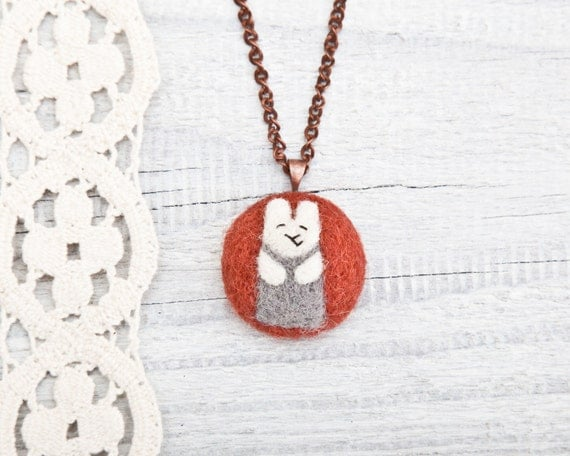 Bunny Necklace, handmade Pendant, Felted jewelry, Red Necklace