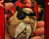 Hand Carved  Pirate Ornament and Magnet - 3 inches tall