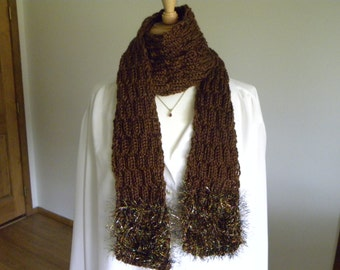 Hand Knit Brown Scarf with Colorful Tinsel Border