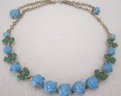 Flower necklace; blue necklace. flower jewelry. floral necklace; vintage jewelry