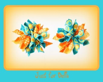 Fall Teal Leaves Korker Dog Bows