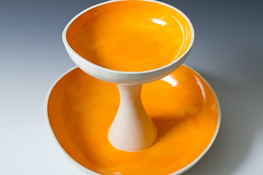 Orange and white 2 tiered fruit serving or by vitreouswares - Tiered fruit bowl ...