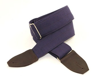 Ink Blue Linen Guitar Strap with Nickel Hardware and Beautiful Leather Ends