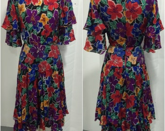 1980's floral dress with bead embellishment.