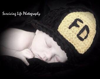 Newborn Crochet Firefighter Photography Prop