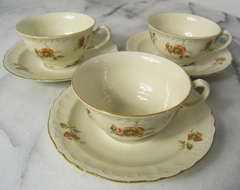 Vintage Tea Cups with Saucers,  Porcelain Floral Tea Cups and saucers, Tea Cups and Saucers, Set of three