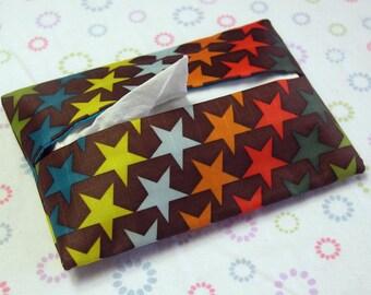 Handmade Stars Tissue Holder in Brown, Tissue Pouch, Travel Tissue Holder, Travel Tissue case