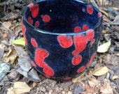 Black and red Candle cup, candle holder, tea light holder, votive holder, ceramic, pottery, cup, red, black