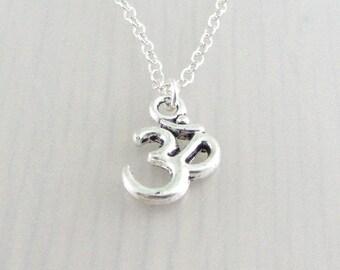 Silver Om Necklace, Silver Aum Pendant, Yoga Charm Pendant, Ohm Necklace