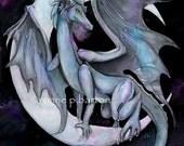 Dragon Night dark gothic fantasy fine art trading card PRINT ATC ACEO