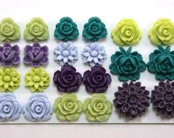 22 pcs Resin Flower Cabochons Assorted Sizes Sampler Pack - July Pastures