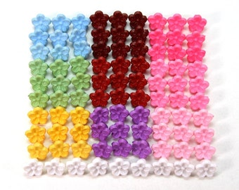 90 pcs Tiny Flower Plastic Shank Buttons - 7.5mm - 10 assorted colors