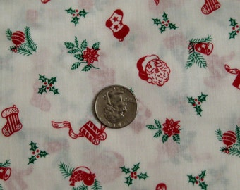 Red, White and Green Santa Christmas Fabric