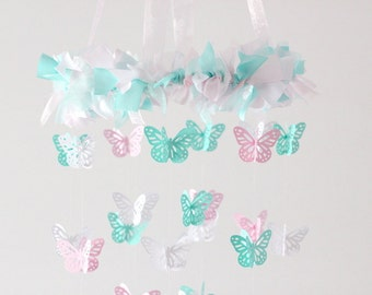 Pink Aqua White Butterfly Nursery Mobile- Nursery Decor, Baby Shower Gift, Nursery Mobile