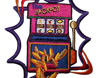 ID #8570 Slot Machine Jackpot Casino Gambling Embroidered Iron On Applique Patch
