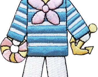 ID #7469 Sailor Boy Nautical Child Marina Embroidered Iron On Applique Patch