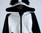 PAWSTAR Classic Panda Hoodie Jacket Coat Cosplay costume fairy kei Anime Kawaii Japanese Japan furry apparel Fluffy Cute Black White  6153