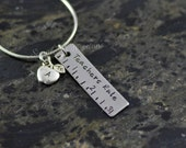 Teachers Rule Personalized Stainless Steel Bar Necklace w/Apple Charm
