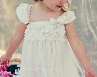 Lace Flower Girl Dress / Country Flower Girl Dress / Lace Petti Dress..Rustic Flower Girl / Ivory Lace Flower Girl Dress / Cream..Wheat .