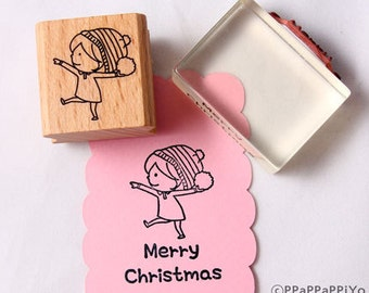 snowball fight & merry christmas Rubber Stamp set
