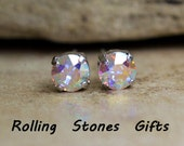 6.32mm Aurore Boreale Swarovski Xirius Round Crystal Stud Earrings-Rhinestone Studs-AB rhodium Studs Studs