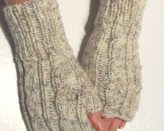 Fingerless Gloves Knitted short, Oatmeal  color , fall winter wear, cable design (1)