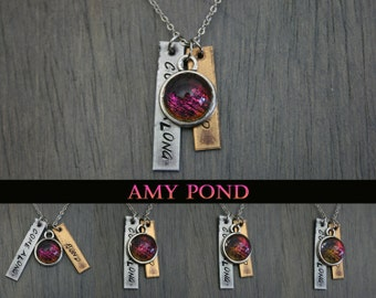 """Amy Pond - """"Come Along Pond"""" Hand Stamped - Color Shifting Necklace"""
