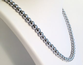 Magnetic hematite necklace - bright silver 6mm beads - custom sized