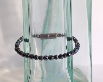 Tiny faceted magnetic hematite bracelet - 4mm faceted beads - custom sized
