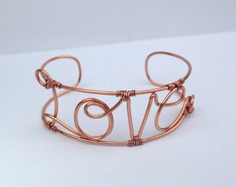 Love Letter Cuff Bracele - Hand Formed - Solid Copper - Custom Sized