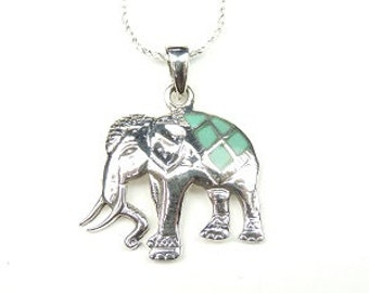 Sterling Silver Elephant Pendent, Silver Jewelry, Silver Necklace, Jewelry, Silver, Turquoise Elephant, Turquoise Jewelry, Turquoise.