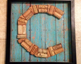 large framed wine cork letter in shadow box perfect gift for the wine lover in your life