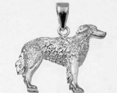 3D BORZOI DOG Charm  in 925 Sterling Silver 24-21
