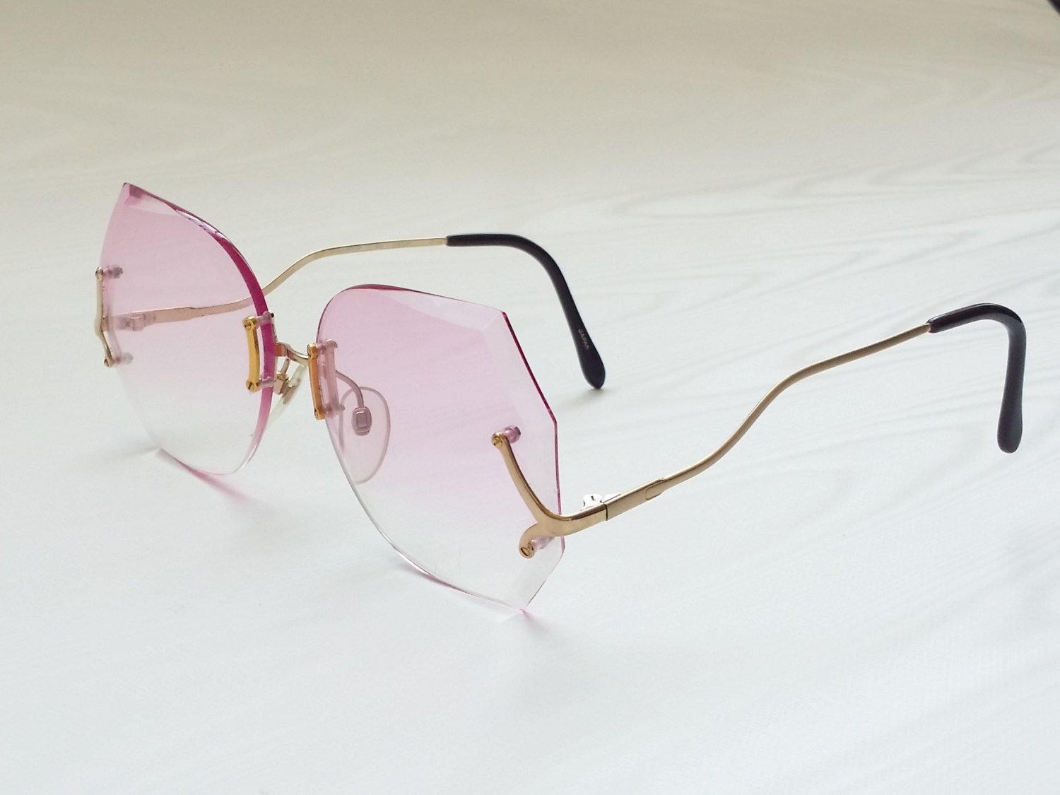 Frameless Vintage Glasses : 60s 70s Oversized Pink Gradated 18K Gold Plated Frameless