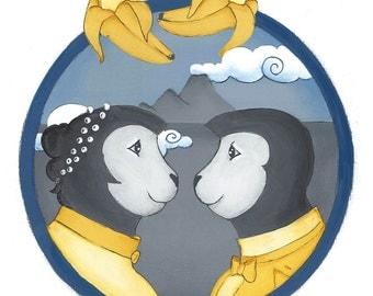 monkey couple, nursery art  print, children's art, kid's room, illustration art , anthropomorhic, romantic victorian, love art, blue, yellow