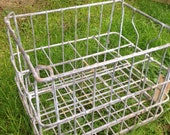 Vintage Industrial Wire Milk Crate Basket