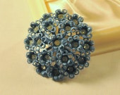 Vintage Blue Enamel Floral Brooch with Rhinestones - Amazing