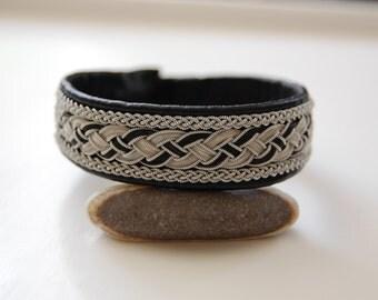 Your Horse Hair Sami Bracelet  - Lapland - Pewter Silver Reindeer leather  wide - Sweden