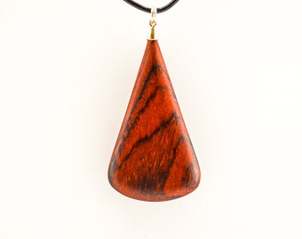 Decorative Pendant and Necklace: Exotic Hardwood Leaf (Cocobolo).