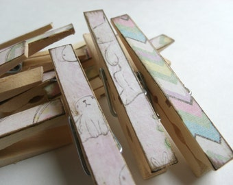 Easter Decorative Clothespins Bunny Egg clothespins set of 10