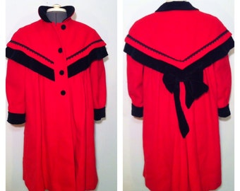 Vintage 60's Rothchild Bright Red Wool Long Jacket with Black Velvet Trim and Bow