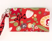Red Floral Print Flat Wristlet - Wristlet with Detachable Strap - Cellphone Wallet - Cotton Fabric Wristlet - Gadget Cases