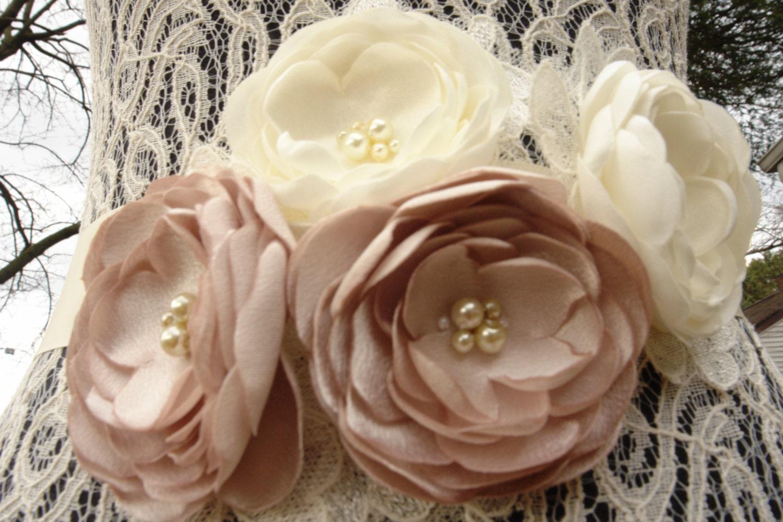 Champagne Ivory Bridal Flower Brooch OR Hair Clip Bridal