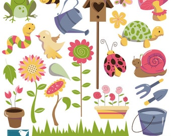 SALE Garden Digital Clipart - Scrapbooking , card design, invitations, stickers, paper crafts, web design - INSTANT DOWNLOAD