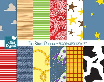 Toy Story Inspired Digital Papers, Toy Story Scrapbook Papers - card design, invitations, background - INSTANT DOWNLOAD